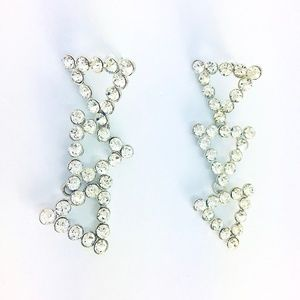 New! Glamorous Crystals Triangle Linked Earrings